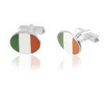 Sterling Silver Oval Irish Flag Cufflinks