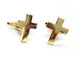 Gold Plated Cross Cufflinks