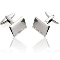 Crystal Bifold Engravable Cufflinks
