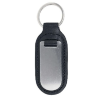 Leather Key Ring With Stainless Steel Plate