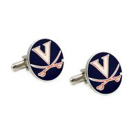 Natural Finish Sterling Silver Round Top Cufflinks College Jewelry Wake Forest University Demon Deacons Cufflinks