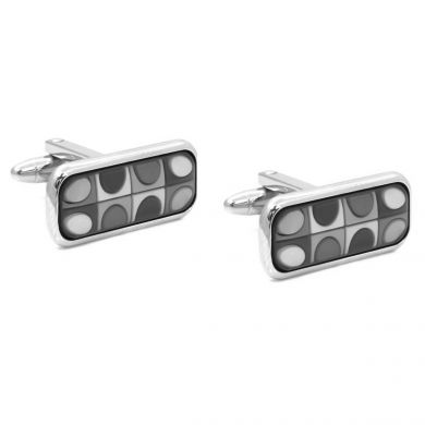 Vintage silver rectangular cuff links with a subtle pattern