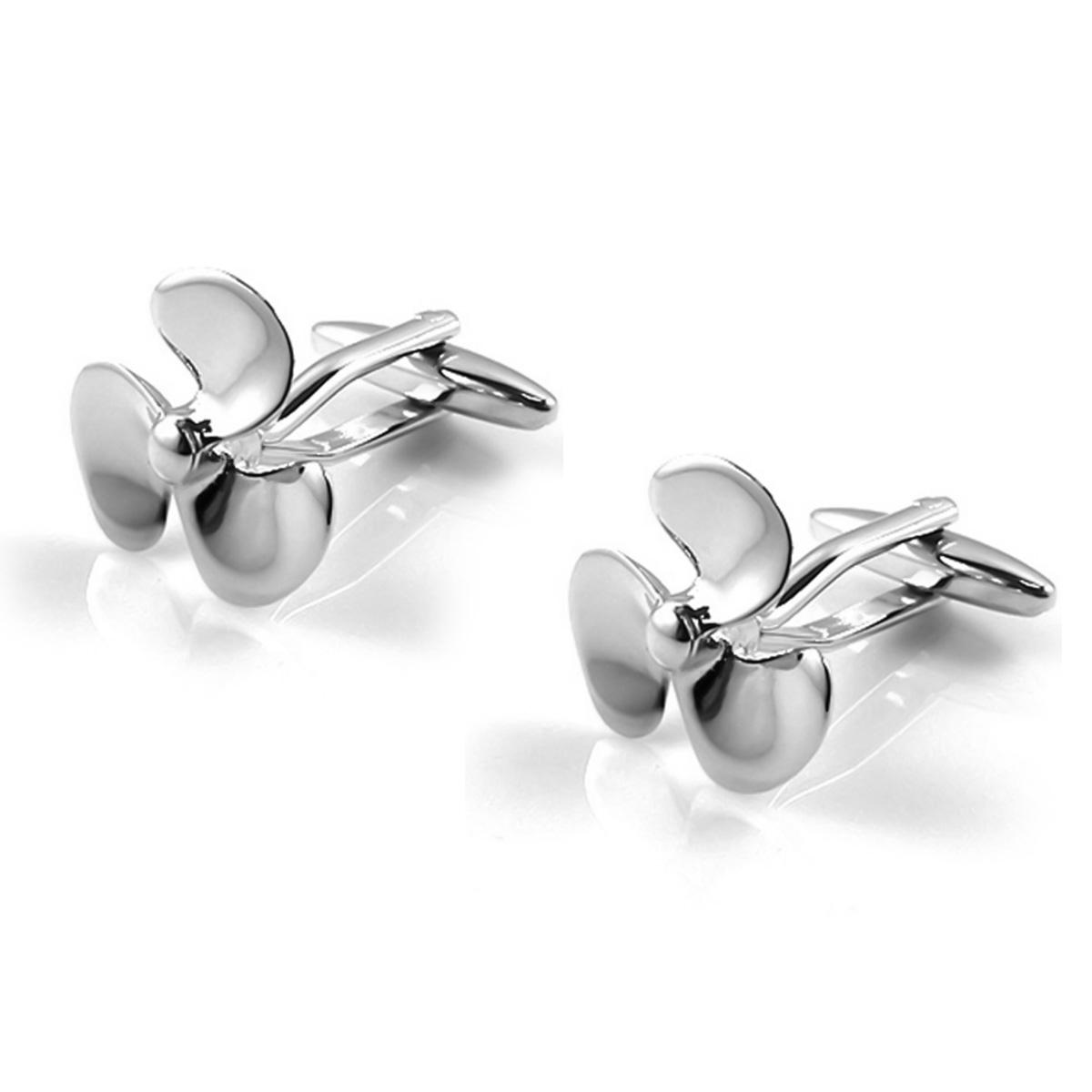 Gunmetal and Silver Propellor Cufflinks