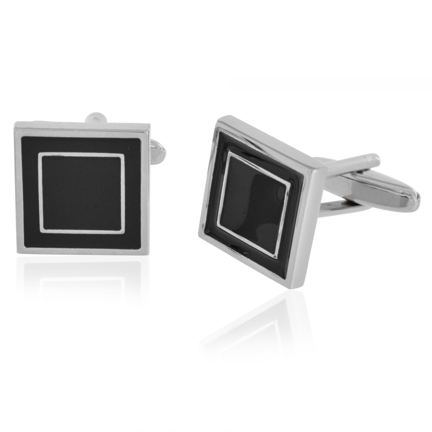 Budget Cufflinks Black and Silver Formal Set Cuff Links