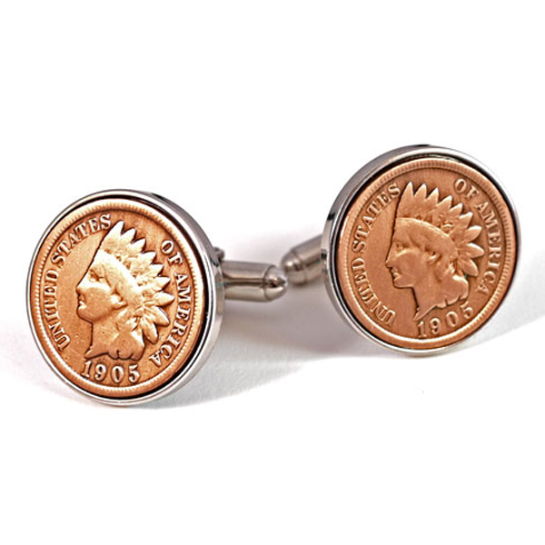 Repurposed Vintage Indianhead Coins Indian Head Coin Cuff Links Fronts w Nice Details