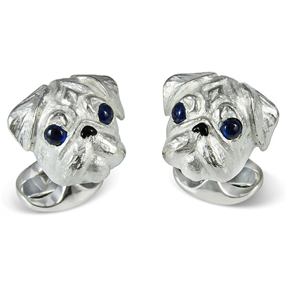Silver Toned Pug Dog Cufflinks