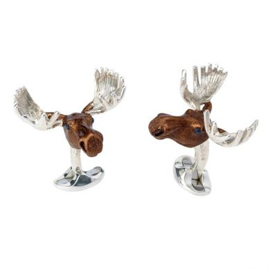 Antique Finish Stags Head Game Animal Cufflinks in a Personalised Cufflink Box