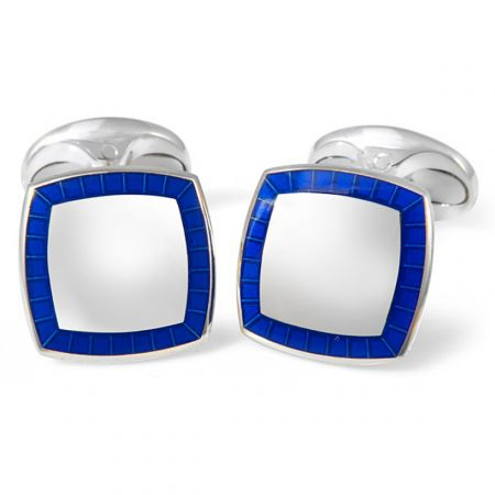 9361fbb31032 Sterling Silver Cufflinks With Blue Border: Cufflinks Depot