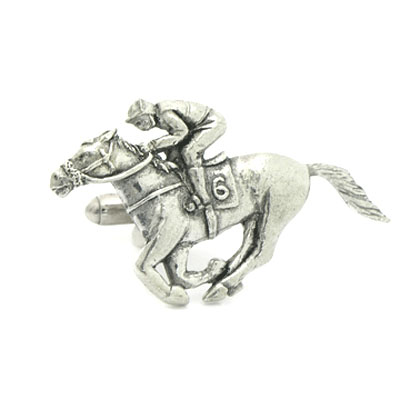Horse Racing Racehorse with Jockey Cufflinks