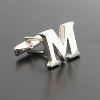 sterling letter m cufflinks
