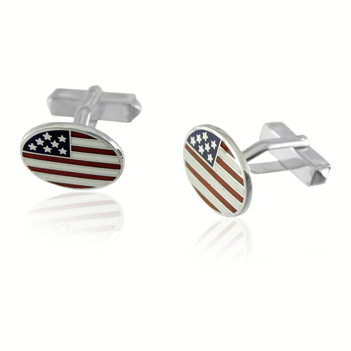 Sterling Silver Oval American Flag Cufflinks Cufflinks Depot