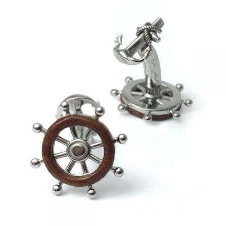 Cuff-Daddy Nautical Sterling Silver Ships Wheel Cufflinks with Presentation Box
