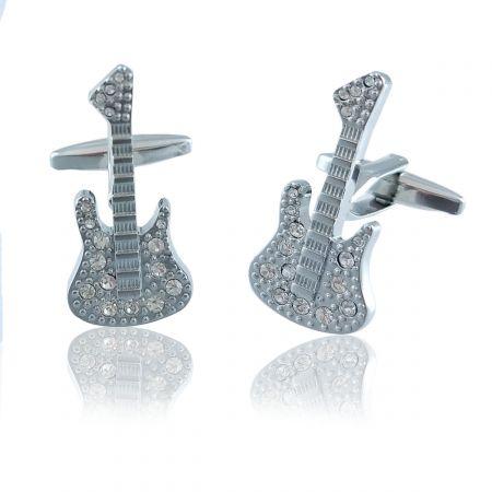 Guitar Pair Cufflinks Black White Silver Wedding Gift Box /& Polishing Cloth