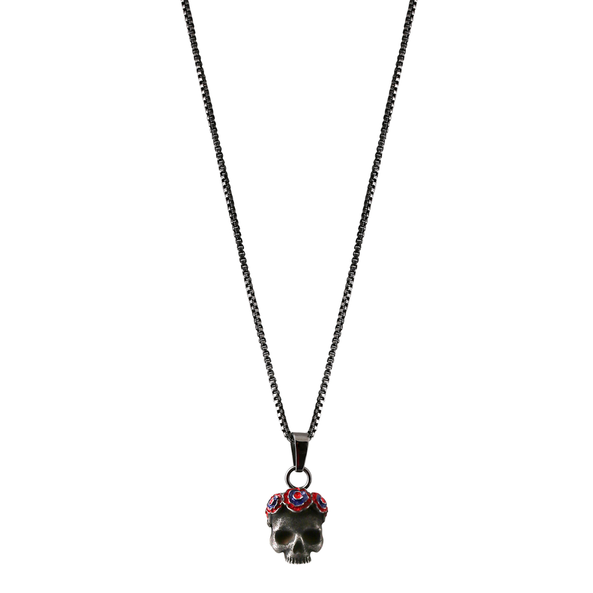 """Gothic Day of the Dead Skull and Rose Pendant 18/"""" Chain Necklace"""